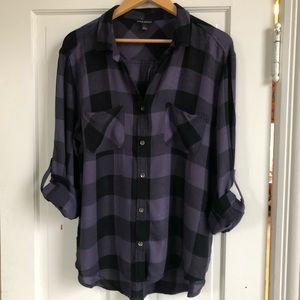 Rock & Republic Purple/Black Plaid Shirt, XL